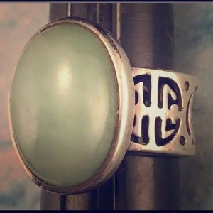 Big Jade Sterling Silver Ring 7